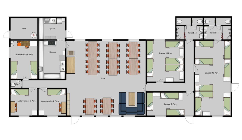 Grundplan m. møbler
